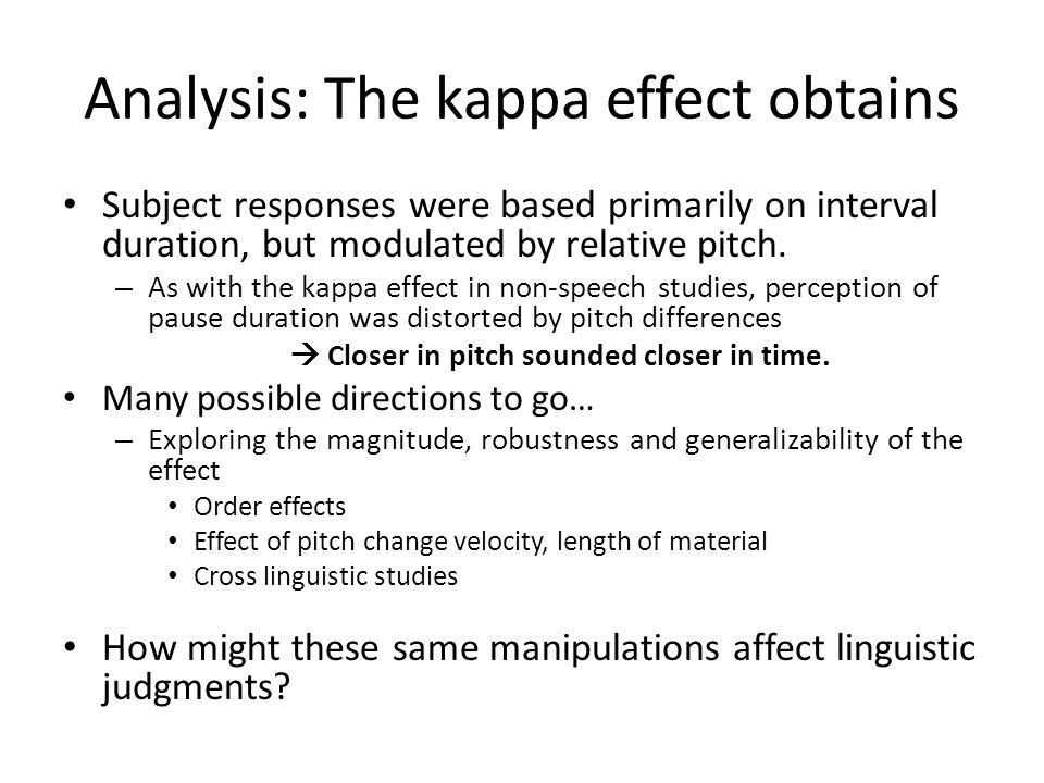 Analysis: The kappa effect obtains