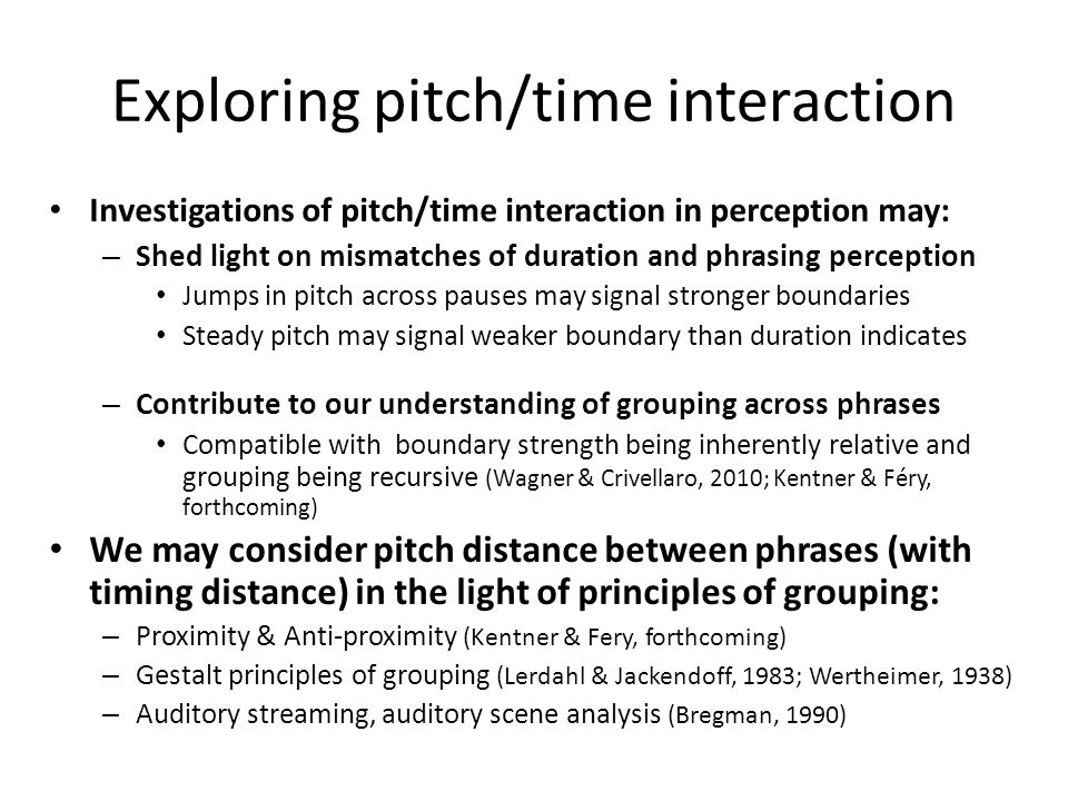 Exploring pitch/time interaction
