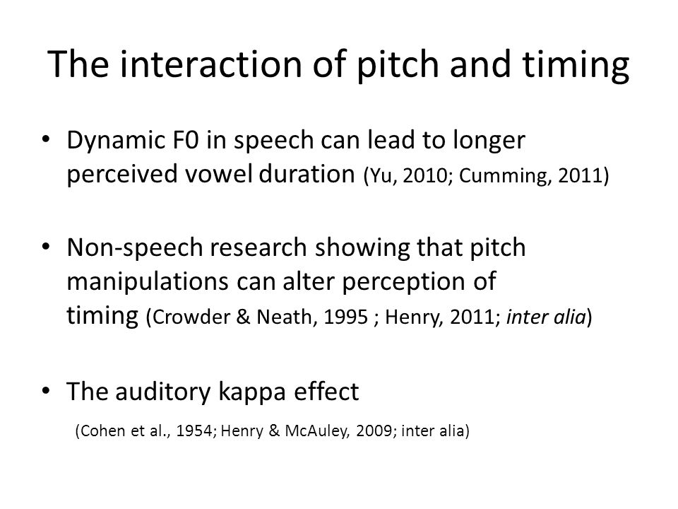 The interaction of pitch and timing
