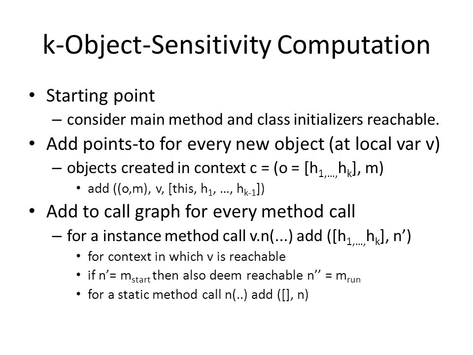 k-Object-Sensitivity Computation
