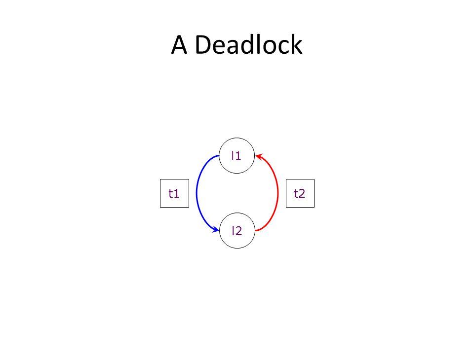 A Deadlock l1 t1 t2 l2