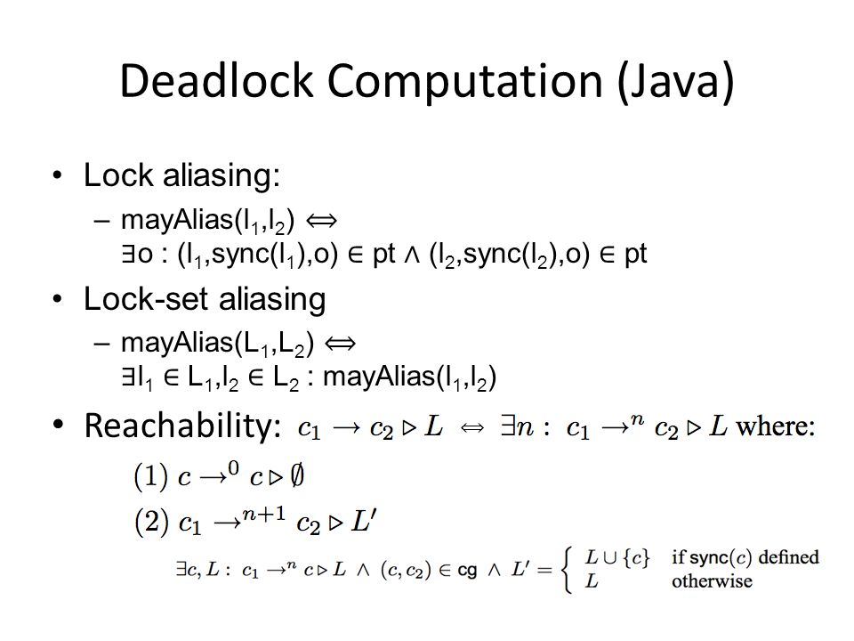 Deadlock Computation (Java)
