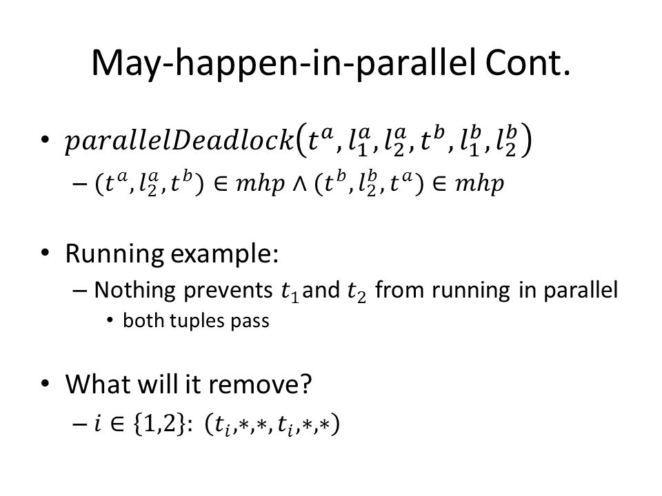 May-happen-in-parallel Cont.
