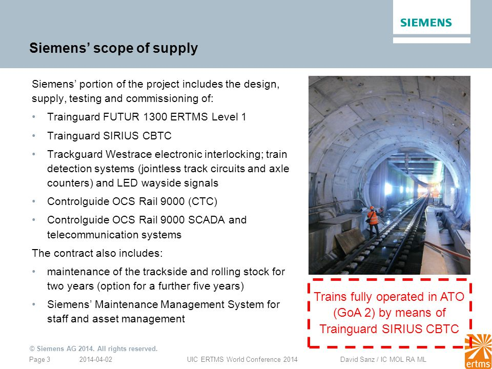 Siemens' scope of supply