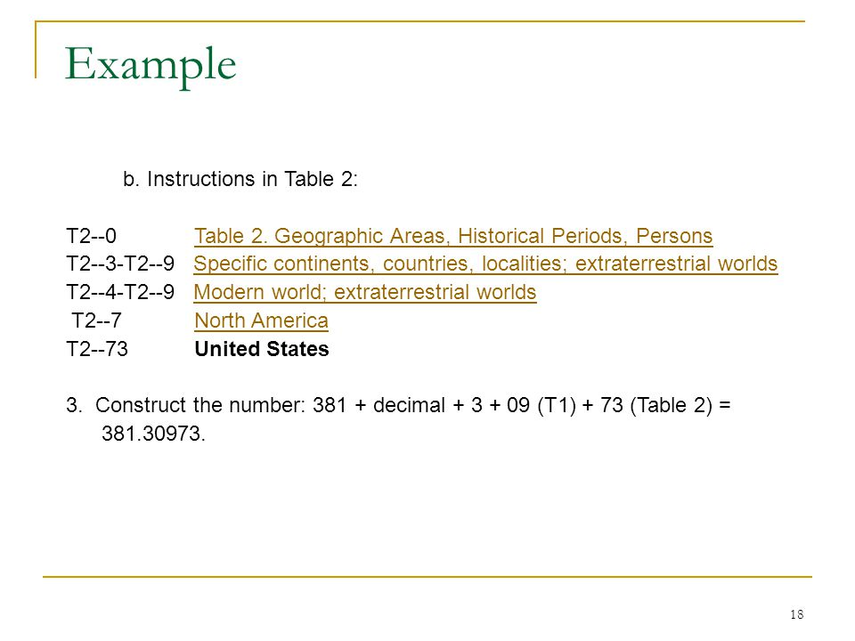 Example b. Instructions in Table 2: