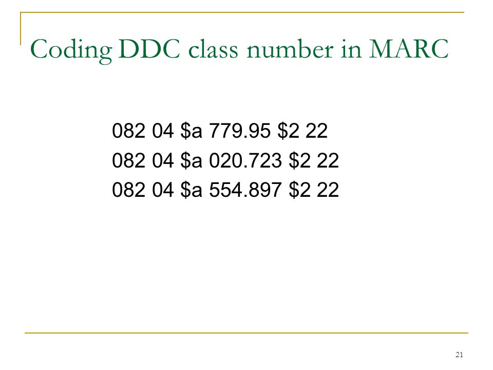 Coding DDC class number in MARC