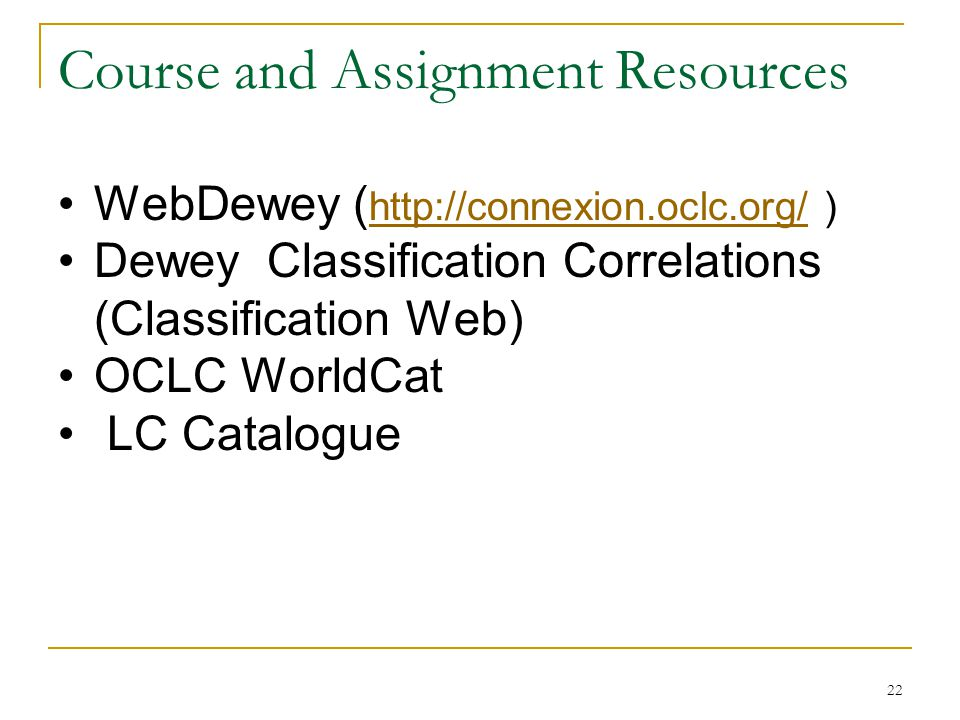 Course and Assignment Resources