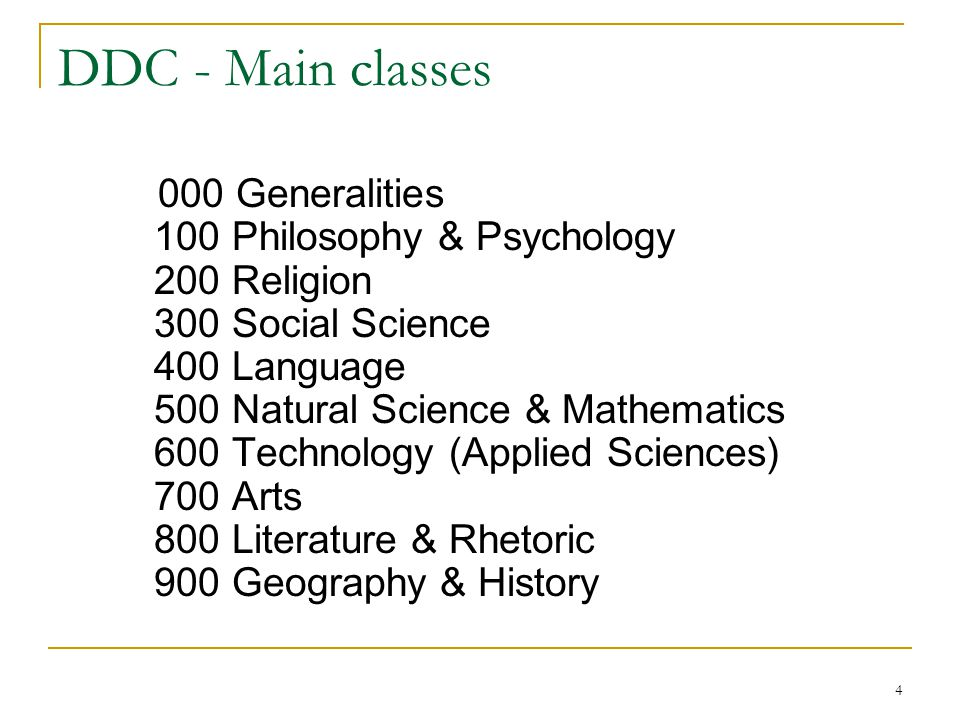 DDC - Main classes