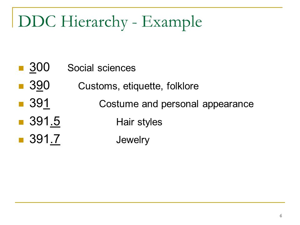 DDC Hierarchy - Example