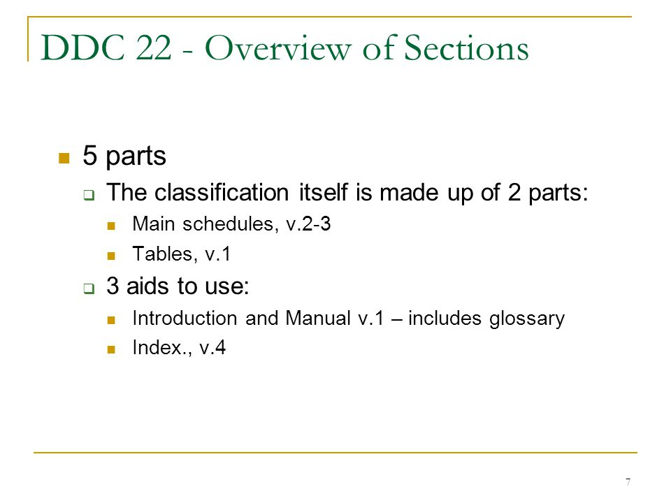 DDC 22 - Overview of Sections