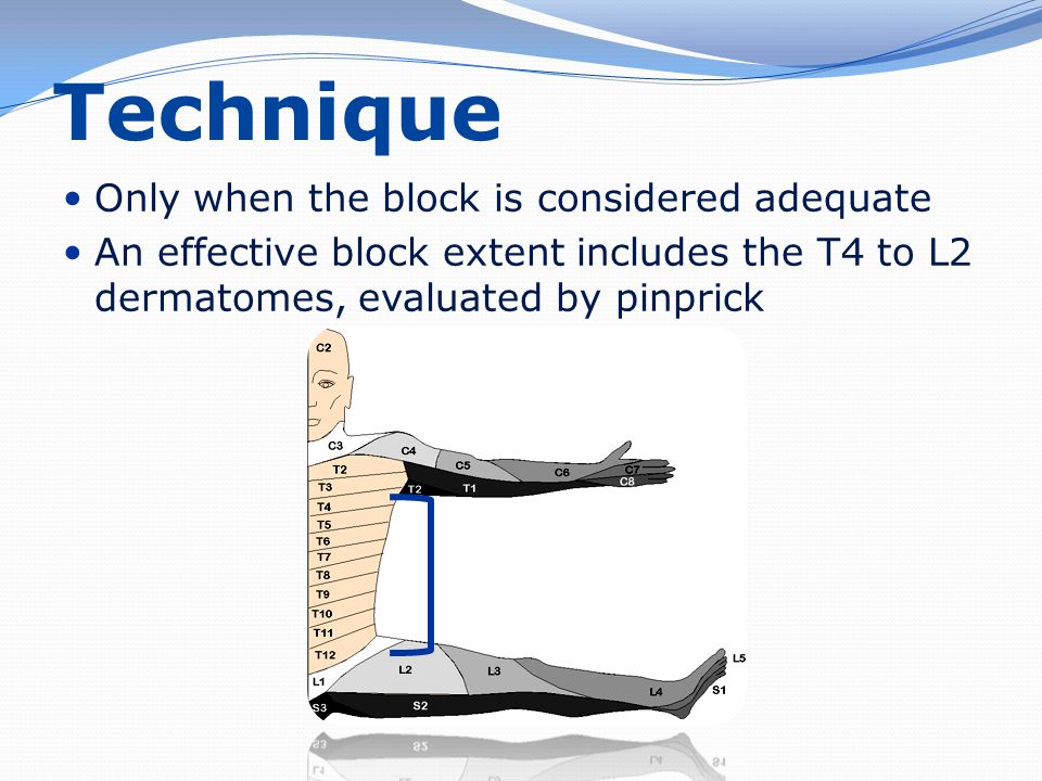 Technique Only when the block is considered adequate