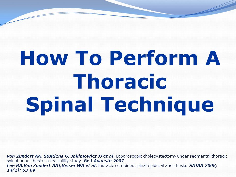 How To Perform A Thoracic Spinal Technique