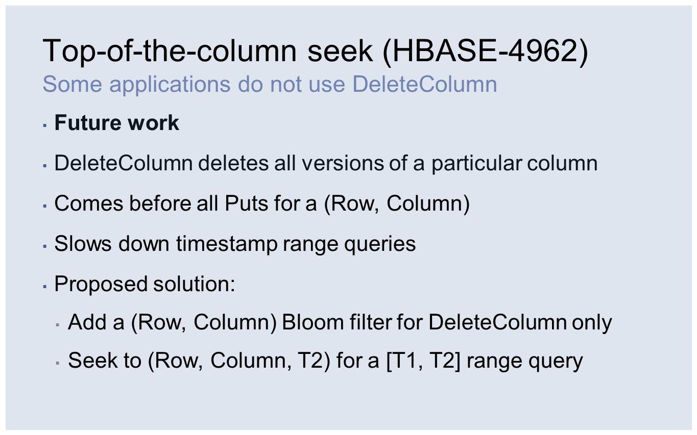 Top-of-the-column seek (HBASE-4962)