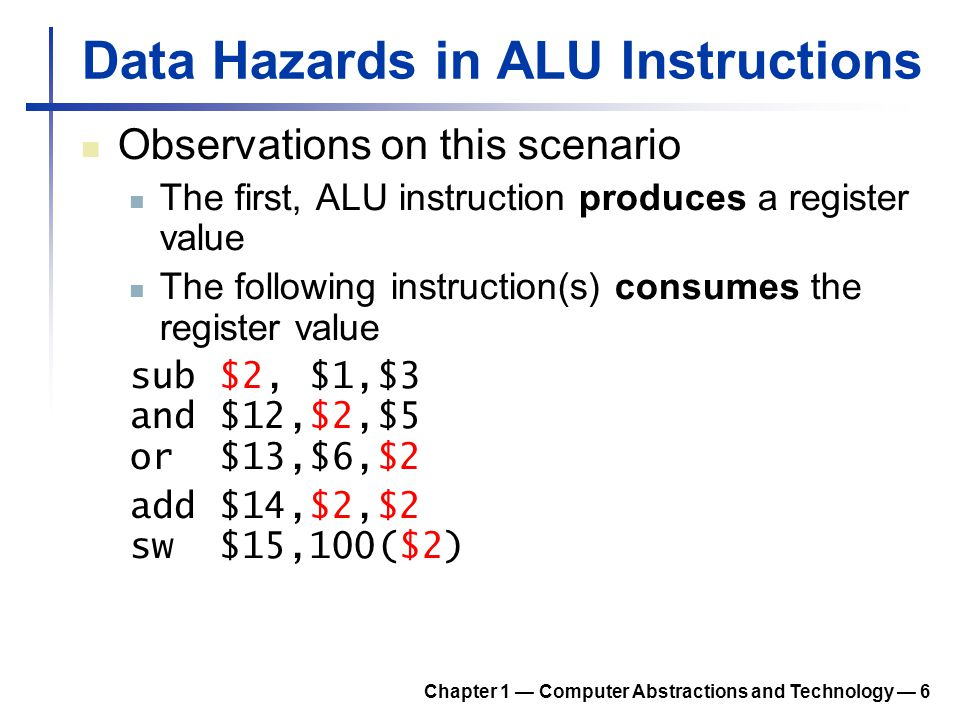 Data Hazards in ALU Instructions