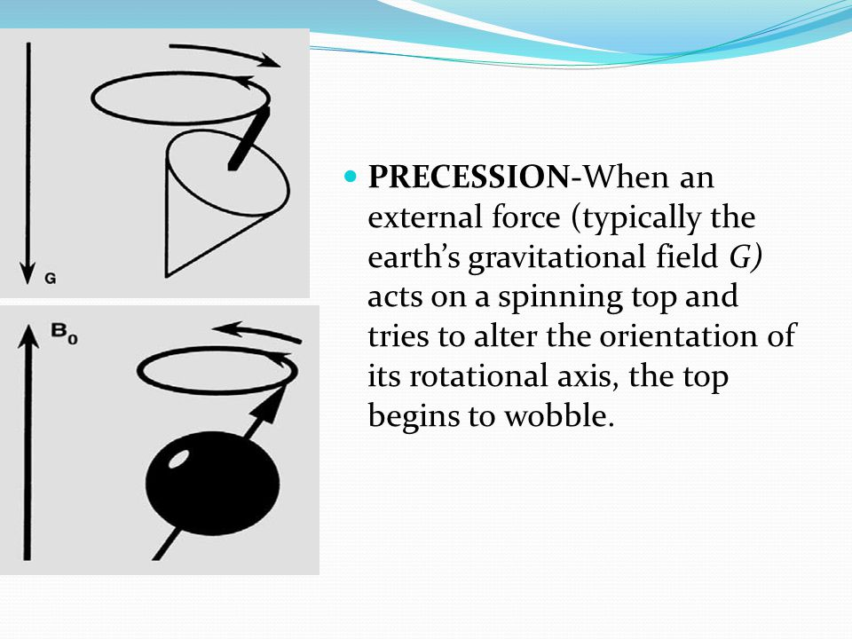 PRECESSION-When an external force (typically the earth's gravitational field G) acts on a spinning top and tries to alter the orientation of its rotational axis, the top begins to wobble.