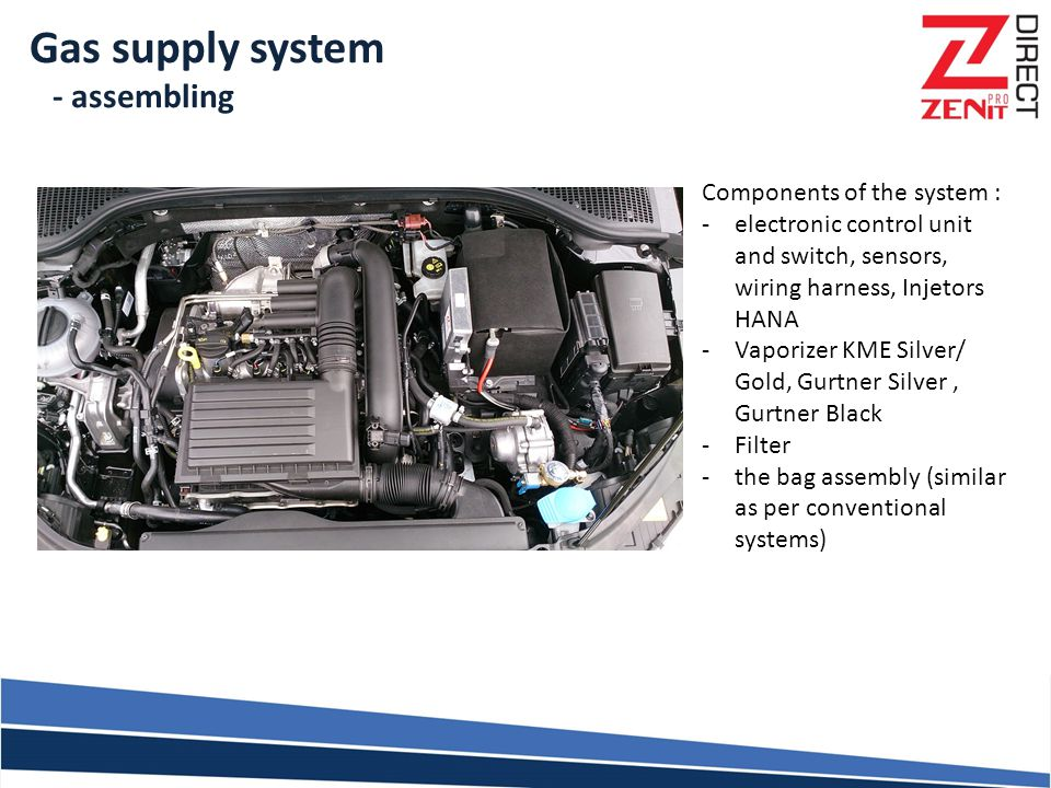 Gas supply system - assembling Components of the system :