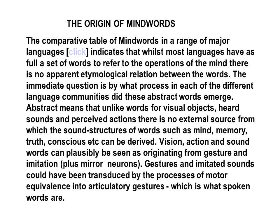 THE ORIGIN OF MINDWORDS