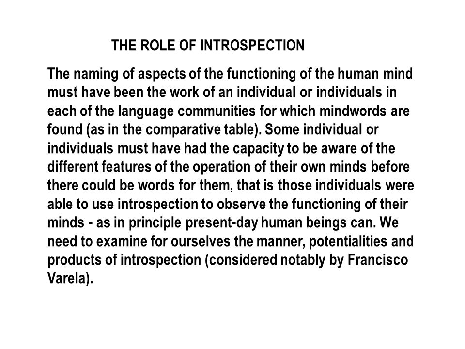THE ROLE OF INTROSPECTION
