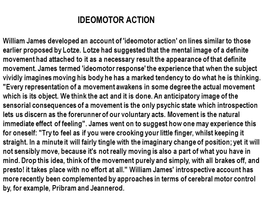 IDEOMOTOR ACTION
