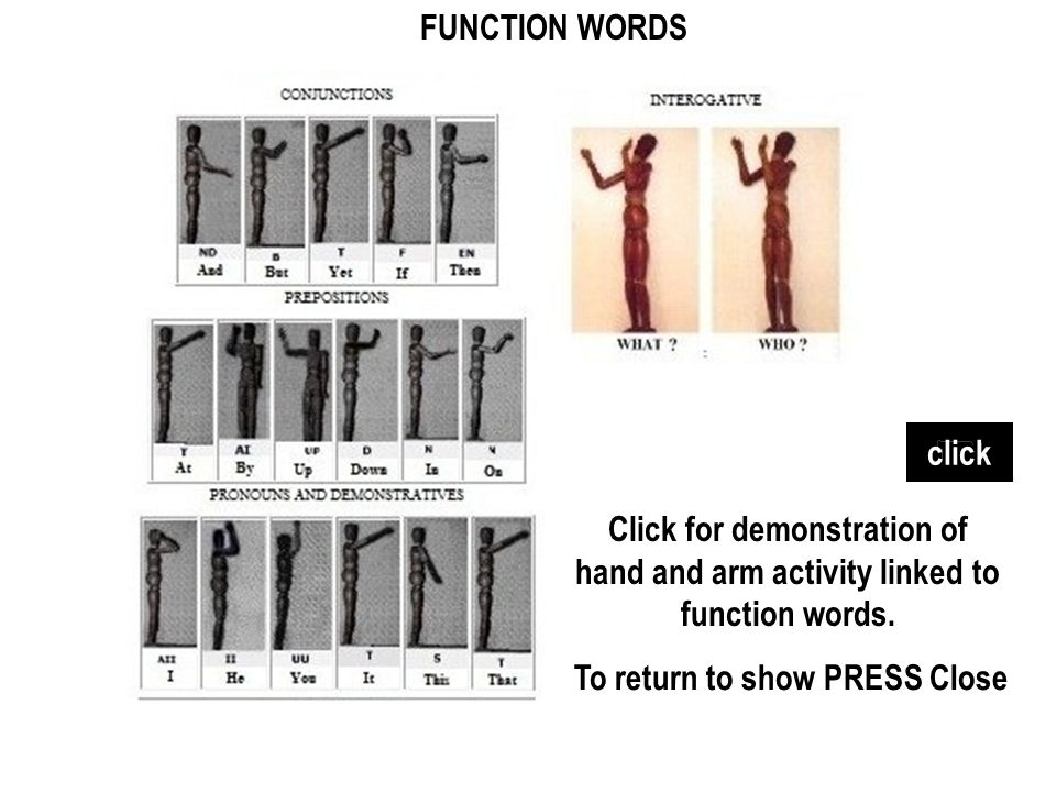 FUNCTION WORDS click. Click for demonstration of hand and arm activity linked to function words.
