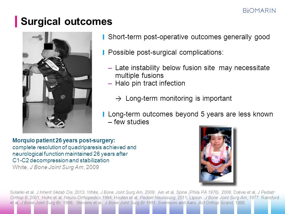 Surgical outcomes Short-term post-operative outcomes generally good