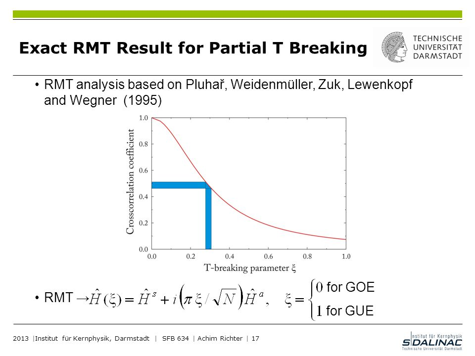 Exact RMT Result for Partial T Breaking