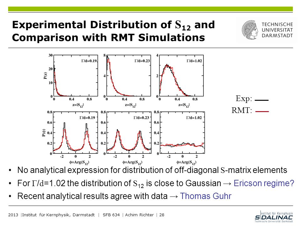 Experimental Distribution of S12 and Comparison with RMT Simulations