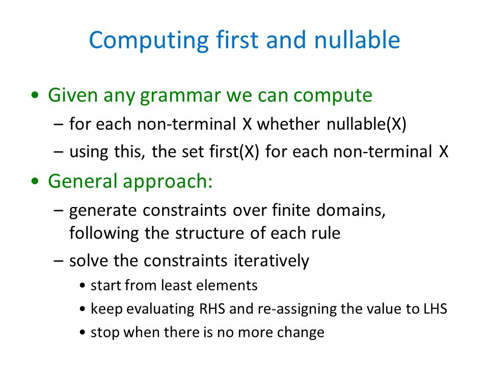 Computing first and nullable