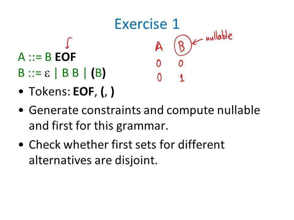 Exercise 1 A ::= B EOF B ::=  | B B | (B) Tokens: EOF, (, )