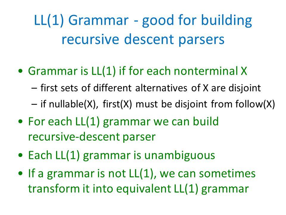 LL(1) Grammar - good for building recursive descent parsers