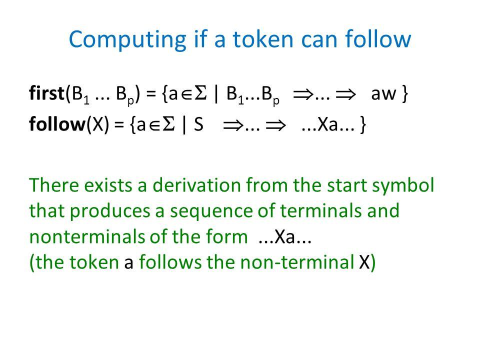 Computing if a token can follow