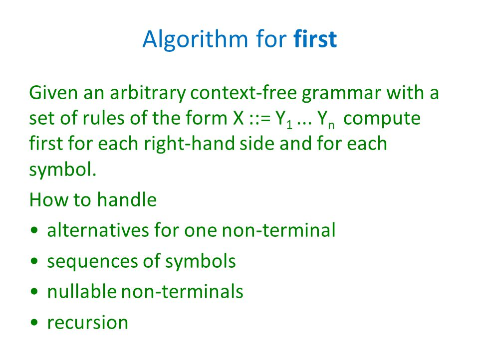 Algorithm for first