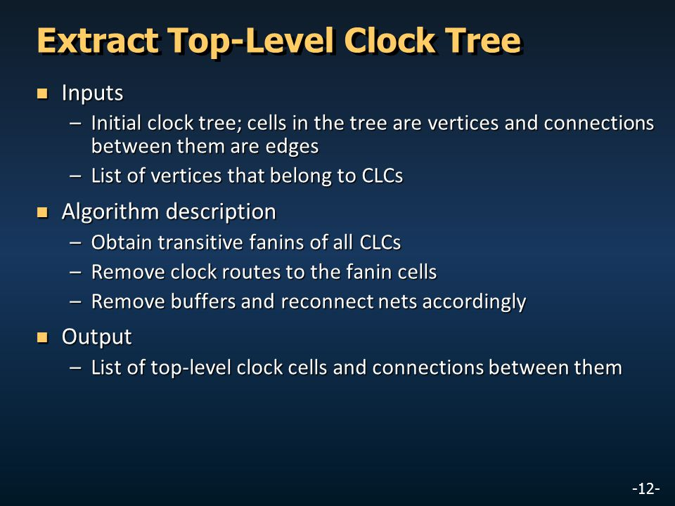 Extract Top-Level Clock Tree