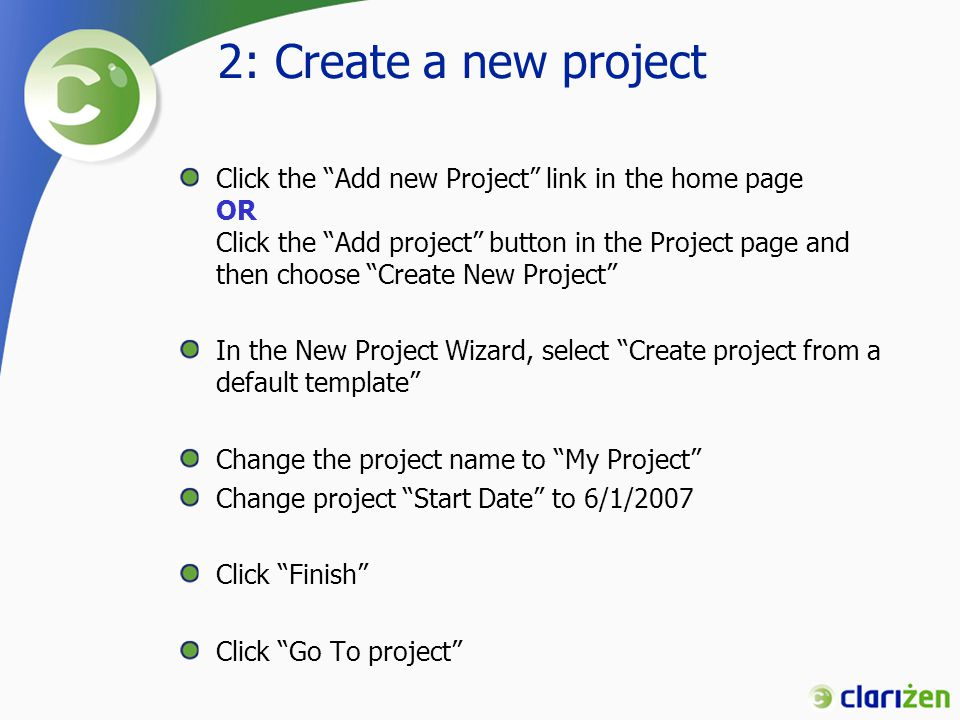 2: Create a new project