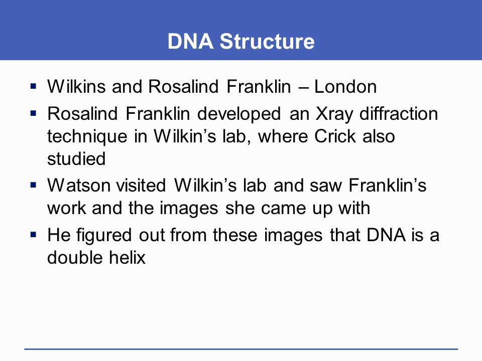 DNA Structure Wilkins and Rosalind Franklin – London