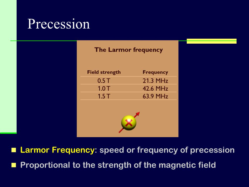Precession Larmor Frequency: speed or frequency of precession