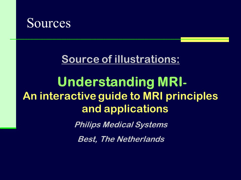 Sources Source of illustrations: Understanding MRI-