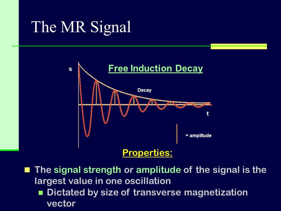 The MR Signal Free Induction Decay Properties: