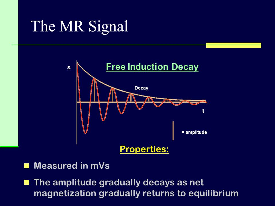 The MR Signal Free Induction Decay Properties: Measured in mVs