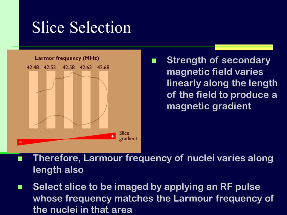 Slice Selection Strength of secondary magnetic field varies linearly along the length of the field to produce a magnetic gradient.