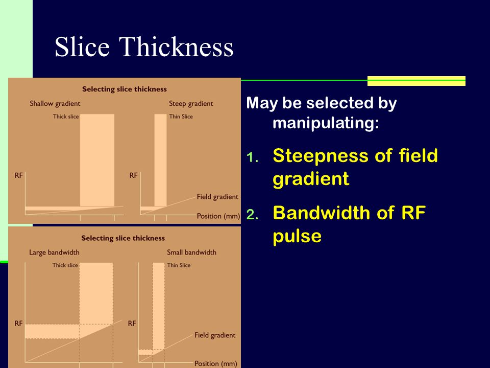 Slice Thickness Steepness of field gradient Bandwidth of RF pulse