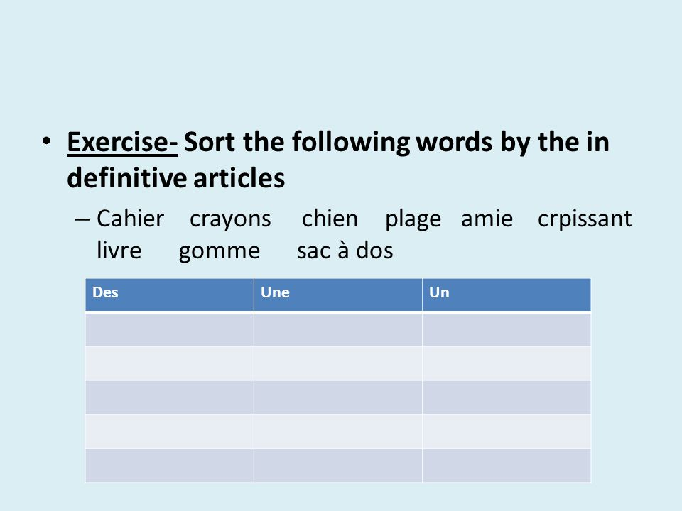 Exercise- Sort the following words by the in definitive articles