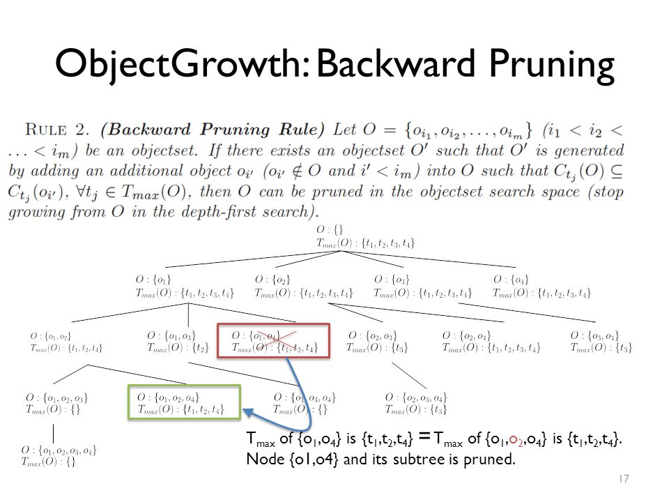 ObjectGrowth: Backward Pruning