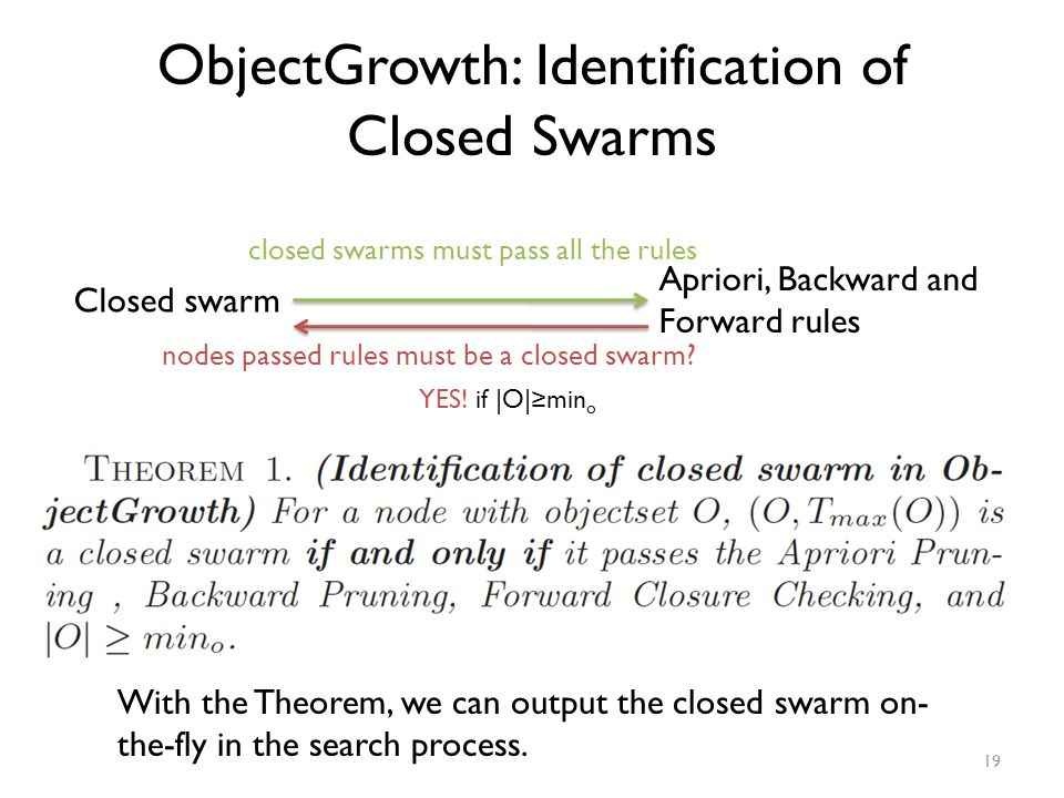 ObjectGrowth: Identification of Closed Swarms