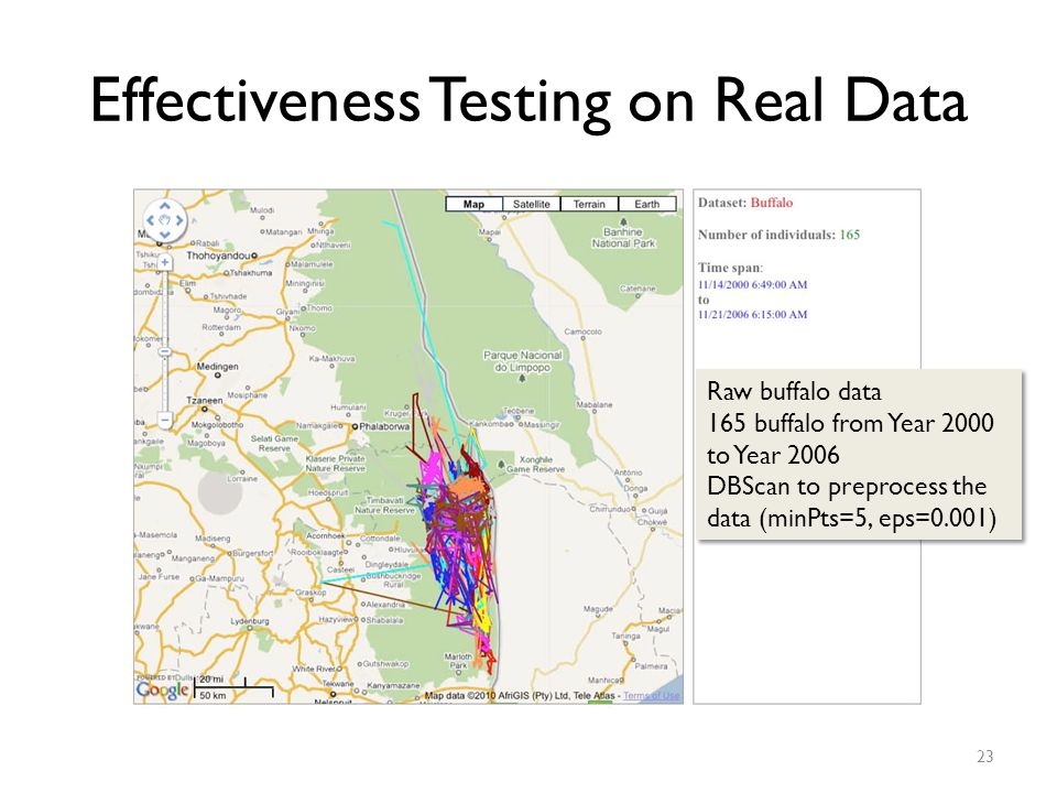 Effectiveness Testing on Real Data