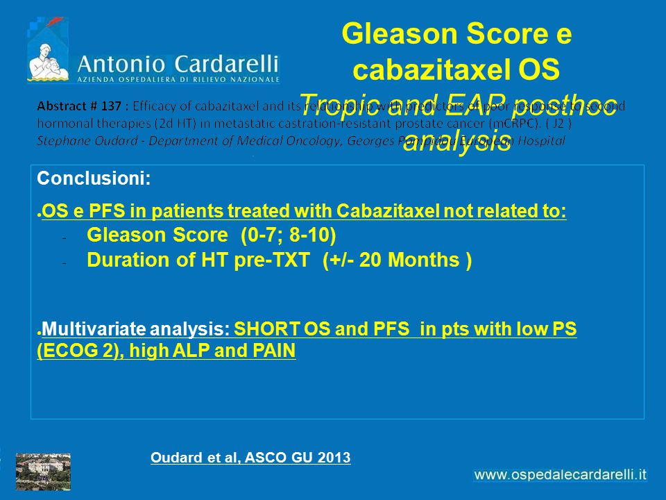 Gleason Score e cabazitaxel OS Tropic and EAP posthoc analysis