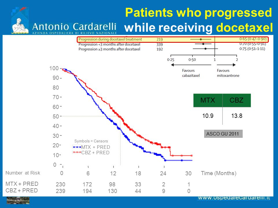 Patients who progressed while receiving docetaxel