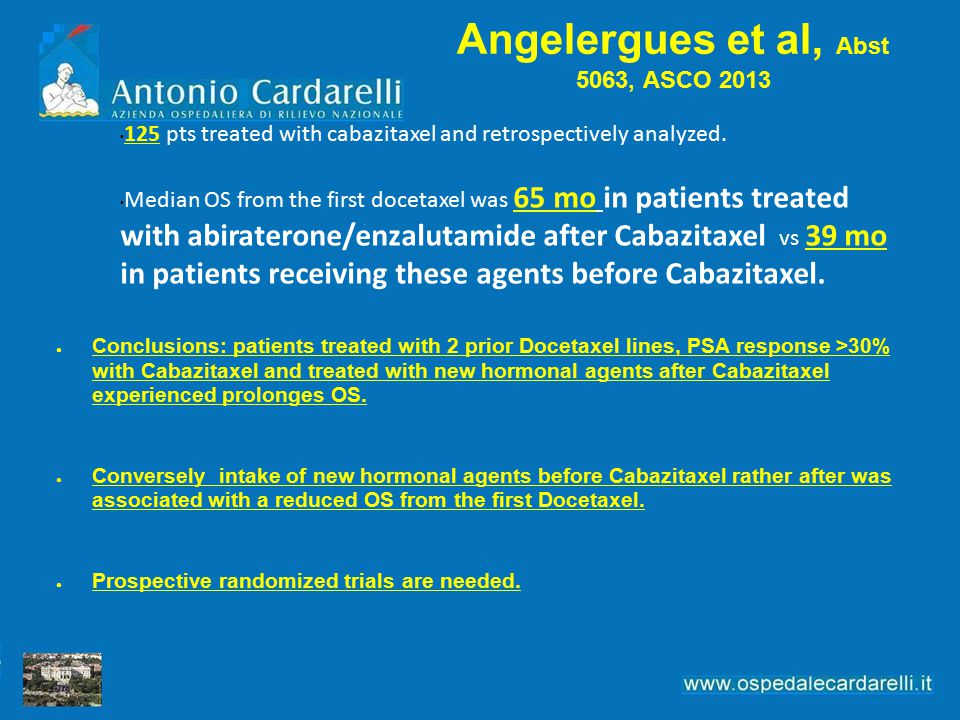 Angelergues et al, Abst 5063, ASCO 2013