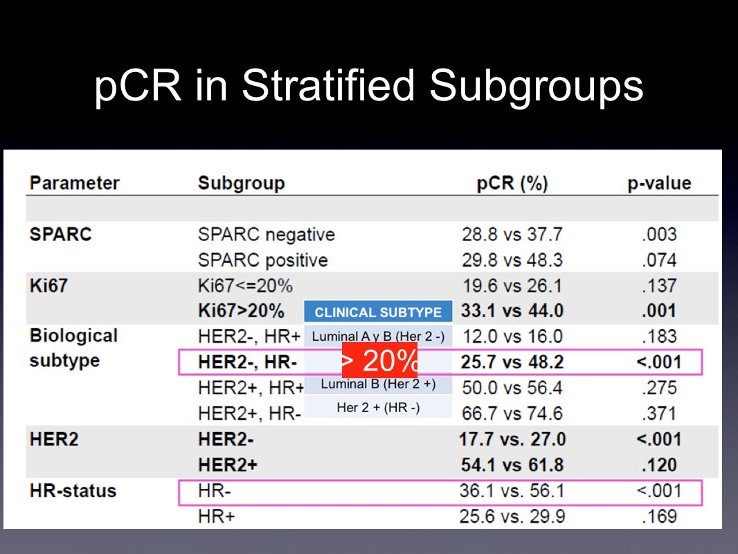 pCR in Stratified Subgroups