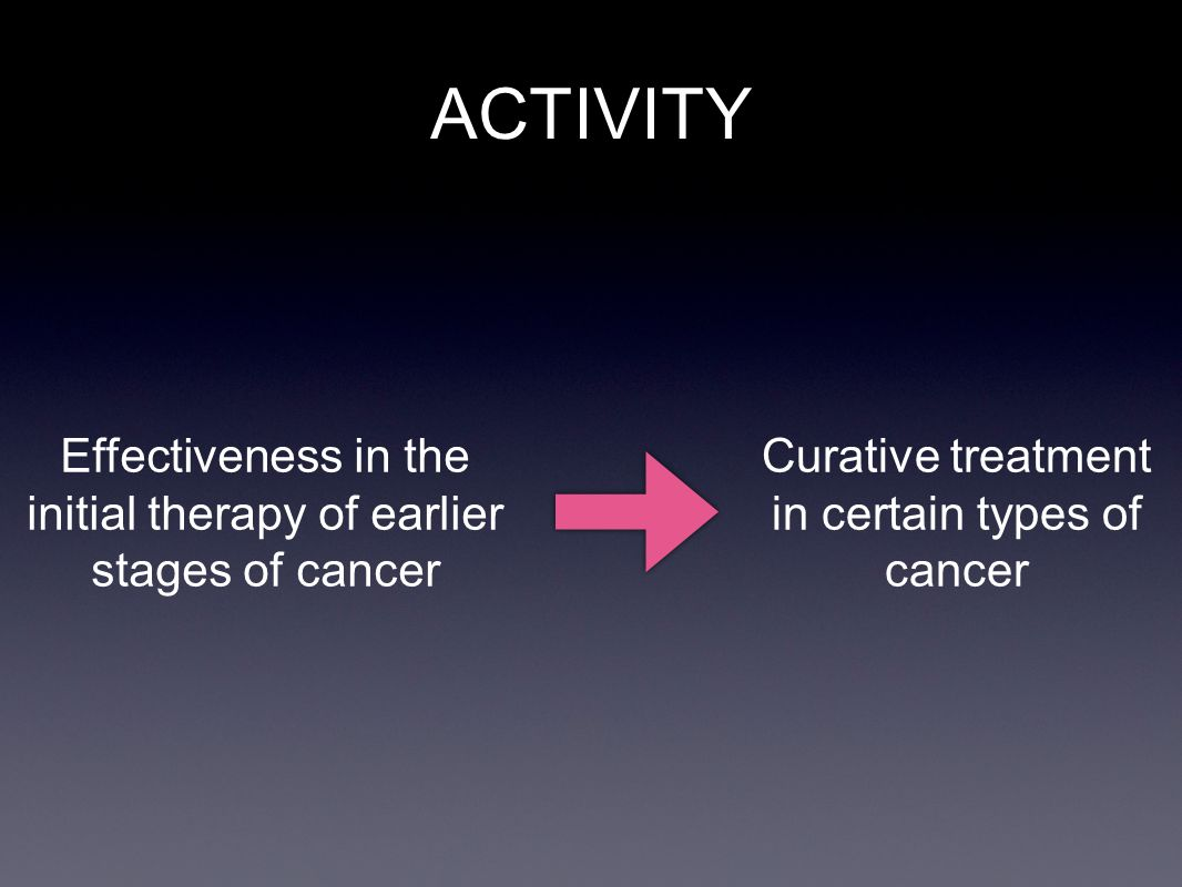 ACTIVITY Effectiveness in the initial therapy of earlier stages of cancer.